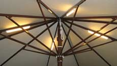 Large Patio Umbrellas - Lights on Roof Arms